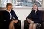 Theresa May, première ministre britannique, et Nicola Sturgeon, première ministre écossaise, dans un hôtel de Glasgow en Ecosse, le 27 mars.