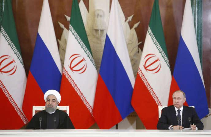 Hassan Rohani et Vladimir Poutine, le 28 mars à Moscou.