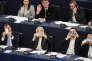 Les eurodéputés FN Louis Aliot, Marine Le Pen, Florian Philippot et Marie-Christine Arnautu, au Parlement européen, à Strasbourg, le 11 mars 2015.