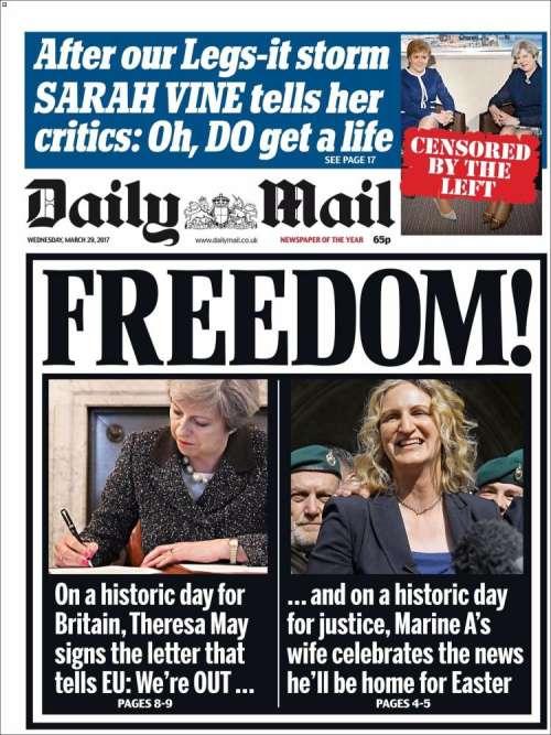 La Une du tabloïd «Daily Mail», mercredi 29 mars