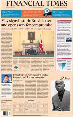 La Une du «Financial Times», mercredi 29 mars