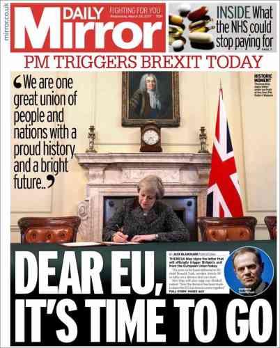 La Une du tabloïd «Daily Mirror», mercredi 29 mars