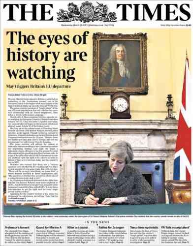 La Une du «Times», mercredi 29 mars