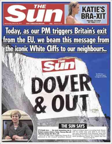 La Une du tabloïd« The Sun», mercredi 29 mars