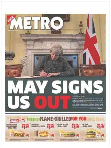 La Une du quotidien gratuit «Metro», mercredi 29 mars
