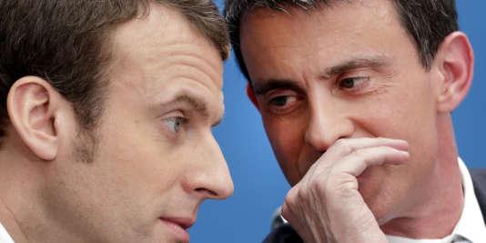 Emmanuel Macron et Manuel Valls, le 8 avril 2015, à Paris.