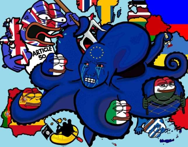 La « pieuvre » européenne face aux « grenouilles » patriotes. Ce visuel empruntant à la culture du Web a été partagé plus de 3000 fois dans les sphères d'extrêmedroite.