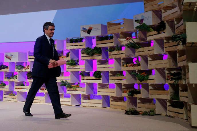 François Fillon, le candidat des Républicains, au 71econgrès de la FNSEA, jeudi 30mars à Brest.