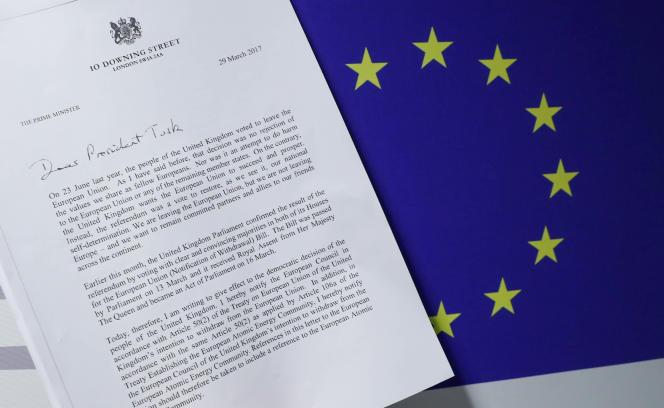 La lettre sur le Brexit envoyée par la première ministre britannique Theresa May au président du Conseil de l'Europe, Donald Tusk, le 29 mars.