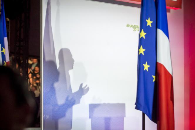 Benoît Hamon, candidatPS à la présidentielle 2017, anime un meeting de campagne au palais des sports Saint-Sauveur, à Lille, mercredi 29mars.