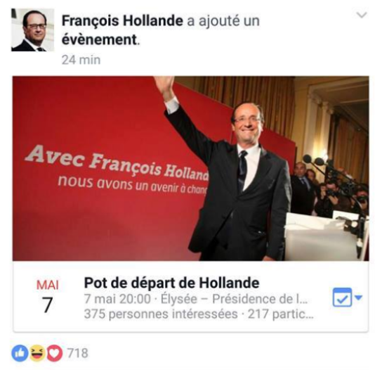 la page de fran 231 ois hollande affiche bri 232 vement une invitation 224 171 pot de d 233 part