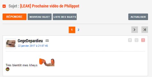 Sur JeuxVideo.com, un «khey» annonce la sortie d'une vidéo de Florian Philippot avant même sa publication sur YouTube.