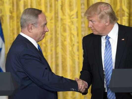 Le premier ministre israélien, Benyamin Nétanyahou, et le président américain, Donald Trump, à Washington, le 15février.