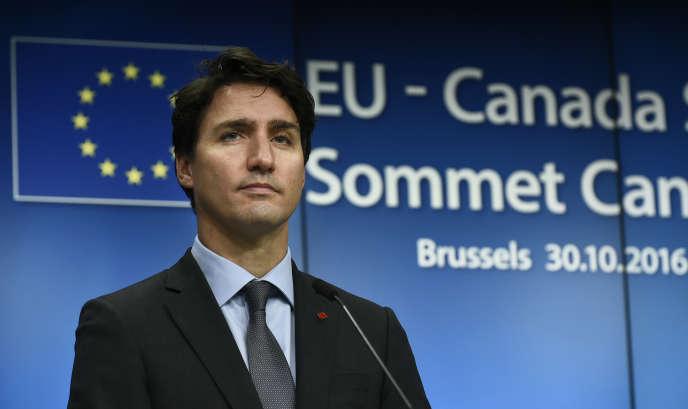 Le premier ministre canadien, Justin Tudeau, à Bruxelles en octobre 2016.