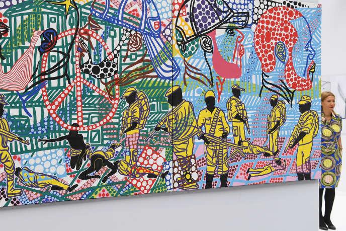 Une œuvre de l'artiste gabonais Boris Nzebo exposée dans le cadre de la Foire Art Paris Art Fair au Grand Palais à Paris, le 29 mars 2017.
