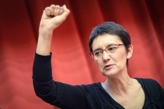 Nathalie Arthaud, le 2 avril 2017, à Strasbourg.