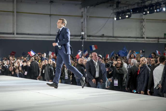 Emmanuel Macron à un meeting de campagne au Parc Chanot, à Marseille, samedi 1er avril.