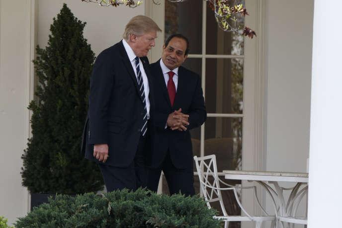 Le président, Donald Trump, avec son homologue égyptien,Abdel Fattah Al-Sissi, à la Maison Blanche, le 3avril 2017.