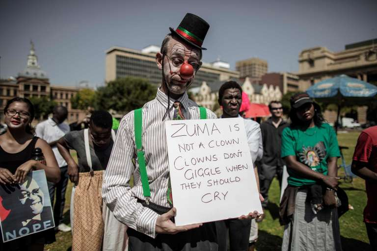 Manifestation contre Jacob Zuma, à Pretoria, le 3 avril.