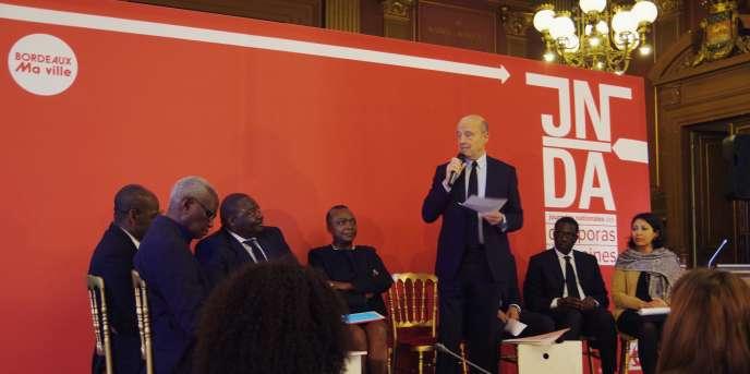 Alain Juppé, le maire de Bordeaux, lors des Journées nationales des diasporas africaines, les 31 mars et 1er avril 2017.