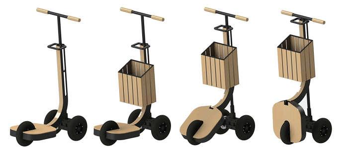 La trottinette-chariot devrait être vendue autour de 1 500 euros.