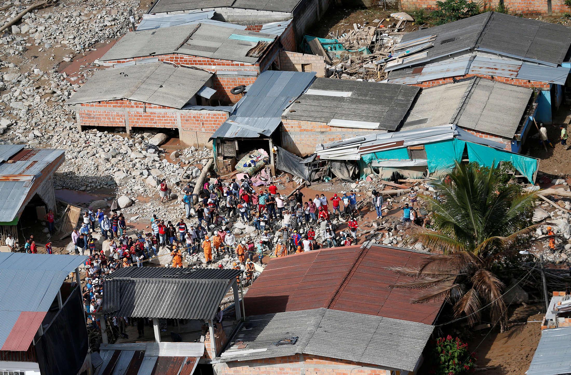 Une vue aérienne, prise le 3avril, des dégâts causés par la coulée de boue quia dévasté la ville colombienne de Mocoa et fait plus de 200morts. Cette ville de 40000habitants est située dans la province de Putumayo, dans le sud du pays.
