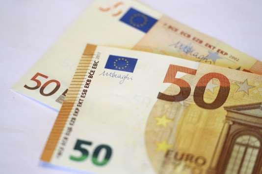 La signature du président de la Banque centrale européenne, Mario Draghi, sur le nouveau billet de 50 euros.