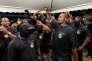 Mikaël Mancée et des membres du collectif « 500 frères contre la délinquance » lors d'un rassemblement à Cayenne, le 29 mars.
