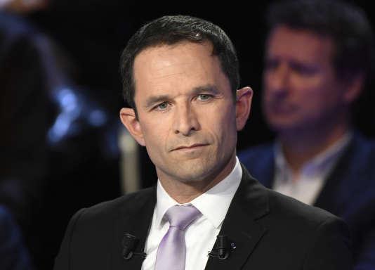 Benoît Hamon, candidat PS à la présidentielle, le 4 avril, sur le plateau du Grand débat.