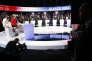 Sur le plateau du débat de BFMTV et CNews, rassemblant les onze candidats à l'élection présidentielle à Aubervilliers, le 4 avril 2017.