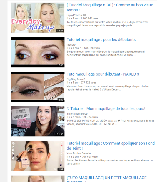 Des « Tutos » de maquillage sur YouTube
