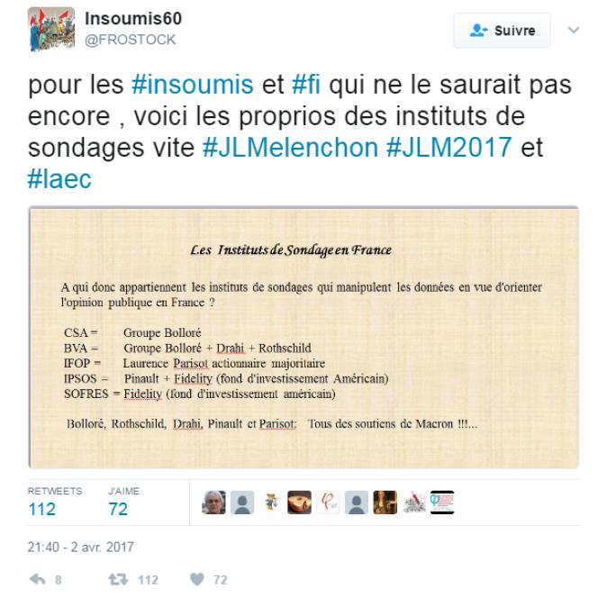Des intoxs circulent sur Twitter à propos d'une prétendue proximité entre Macron et les sondeurs