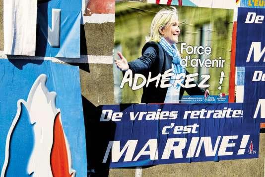 Affiche de campage de Marine Le Pen pour l'électionprésidentielle.