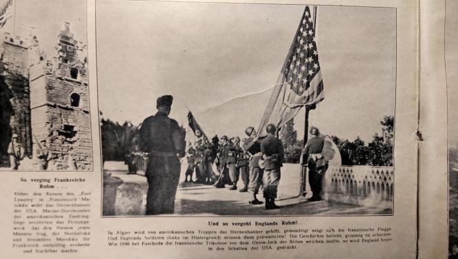 Le même cliché d'une levée de drapeaux en Algérie en 1942 a été publié dans le «Berliner Illustrirte Zeitung» à des fins de propagnade nazie, après « l'effacement » du drapeau anglais…