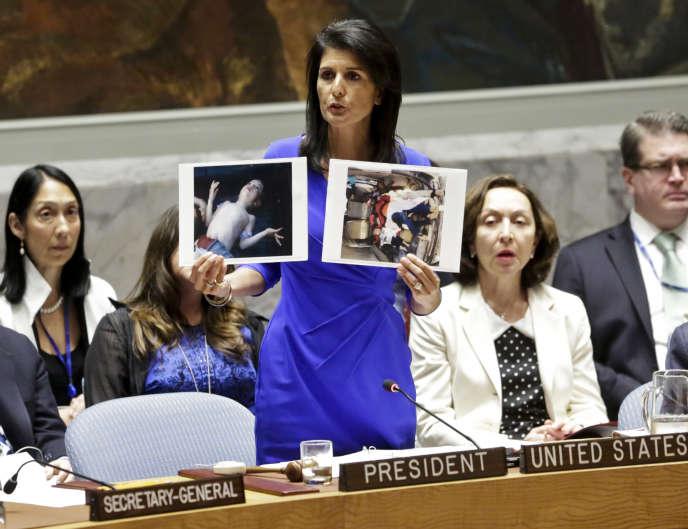 L'ambassadrice des Etats-Unis auprès des Nations unies, Nikki Haley, lors du Conseil de sécurité, mercredi 5avril.