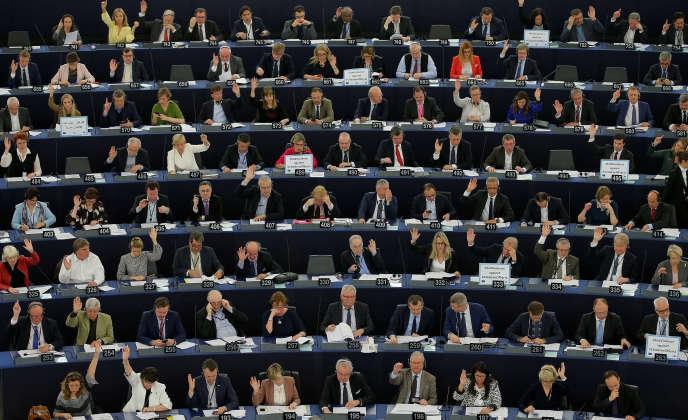 Au parlement européen, à Strabourg, le 5 avril.