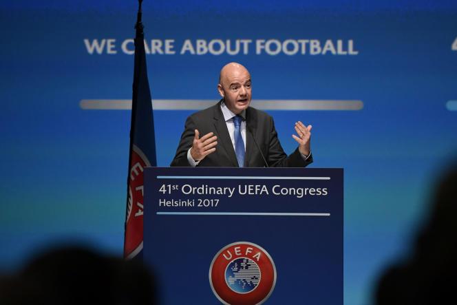 Le président de la FIFA Gianni Infantino à Helsinki en Finlande le 5 avril.