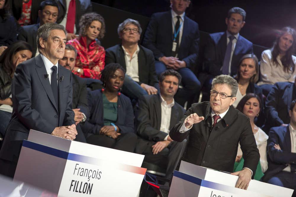 «Je suis prêt à gouverner»,a déclaré d'emblée Jean-Luc Mélenchon. « Totalement en désaccord» avec François Fillon sur la question du travail, il a également dénoncé«l'argent roi», en lançant en préambule : « La finance doit rendre l'argent.»