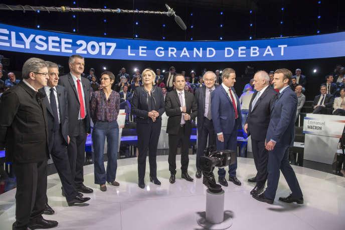 «Plus facilement abstentionniste, l'électeur est aussi plus mobile dans ses choix» (Photo: débat télévisé entre les onze candidats à la présidentielle sur BFM et CNews, le 4 avril).