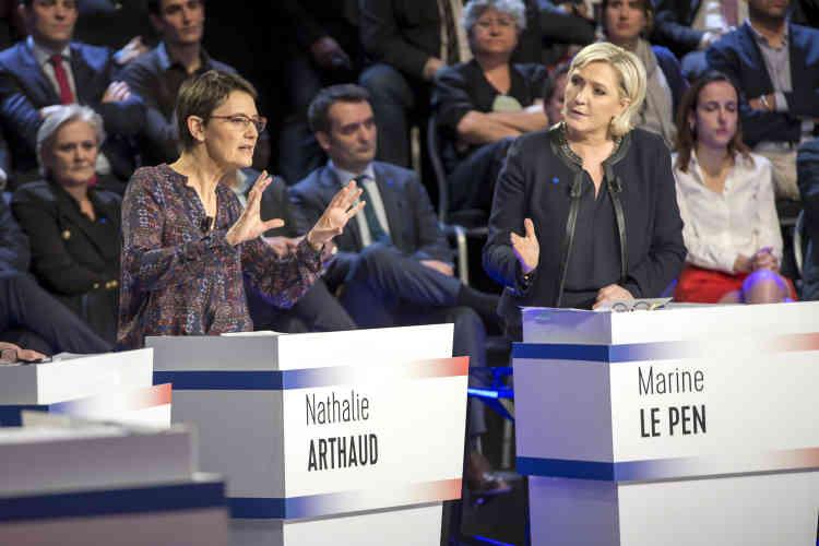 Nathalie Arthaud a défendu«le camp des travailleurs»contre«le grand patronat»,fidèle au discours historique de l'autre figure de Lutte ouvrière, Arlette Laguiller.