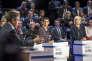 François Fillon, Nathalie Arthaud et Marine Le Pen, lors du débat télévisé entre les onze candidats à la présidentielle 2017 sur BFM et CNews au studio 210 de La Plaine-Saint-Denis, mardi 4 avril.
