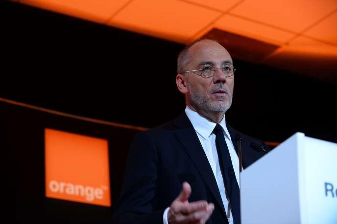 Le patron d'Orange, Stéphane Richard, lors de la présentation du groupe, le 23 février.