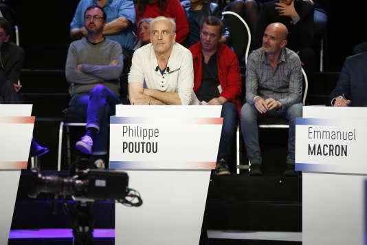 Philippe Poutou lors du débat entre les 11 candidats à l'election présidentielle sur BFM-TV à La Plaine-Saint-Denis le 4 avril.