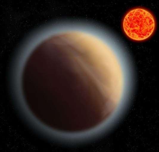 Vue d'artiste de la planète extrasolaire GJ 1132b et de son étoile (en rouge).
