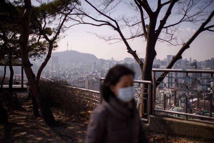 A Séoul, lors d'un épisode de pollution atmosphérique, le 23 février 2016.