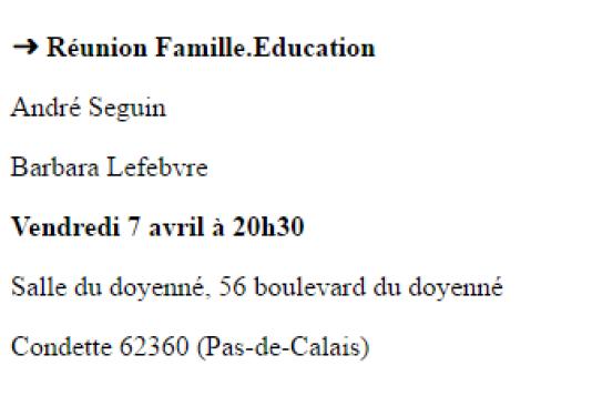 Extrait de l'agenda du site de campagne de François Fillon montrant la participation de Barbara Lefebvre à une réunion de présentation du programme Famille-éducation du candidat LR.