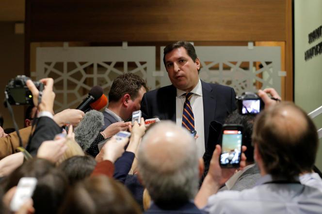 L'ambassadeur adjoint de la Russie à l'ONU, Vladimir Safronkov, à New York, le 6 avril.