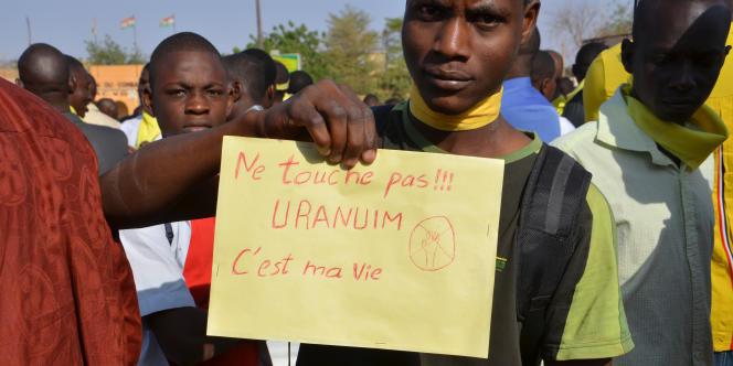 Lors d'une manifestation contre Areva, à Niamey, capitale du Niger, en février2014.