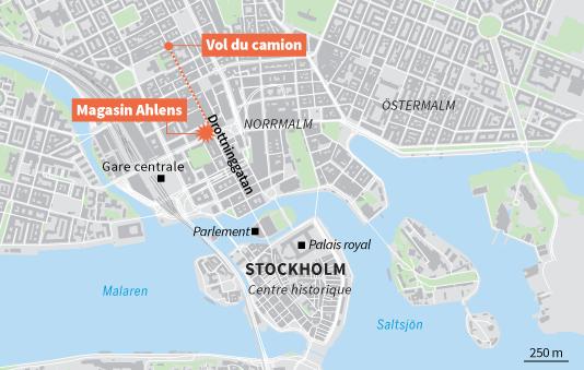 Une vue qui présente le trajet effectué par le camion bélier qui a commis l'attaque le7avril à Stokholm.