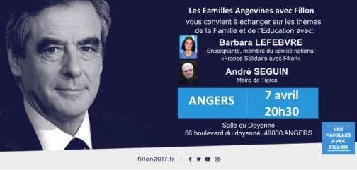 Visuel de présentation d'une réunion de présentation du programme « famille-éducation » de François Fillon montrant la participation de Barbara Lefebvre